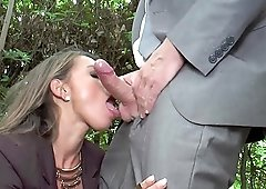 Sexy Suzy has to moan while a friend fucks her ass outdoors