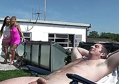 MILF Romana Ryder and her horny friend fuck a dude on the roof
