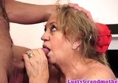 Saggy grandma gets her hairy pussy spooned