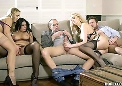 Group sex orgy with the hottest euro babes riding and sucking big dicks