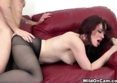 Comely tattooed Jessica Ryan in seductive stockings