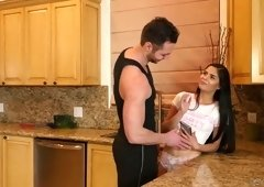 Captivating babe Katya Rodriguez is having dirty sex in the kitchen