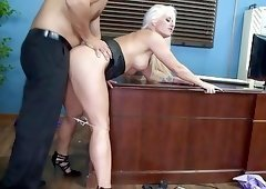 Slutty blonde doggystyled after hard fuck throat in office