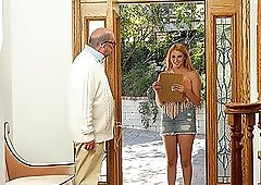 Horny old guy talked lovely Kinsley Anne into banging with him