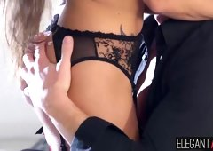 Adorable babe Mea Malone in sexy lingerie enjoys anal fuck