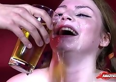 Nasty porn actress loves bukkake and pissing with swallowing